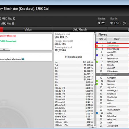 Наш форумчанин «ZebraOrange» выиграл $6,2К в турнире на PokerStars