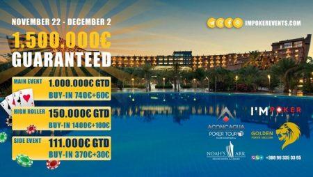 Golden Poker Million: 22 ноября — 2 декабря (Кипр) – Гарантия €1,500,000