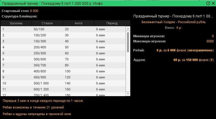 Праздничный турнир на Покердоме