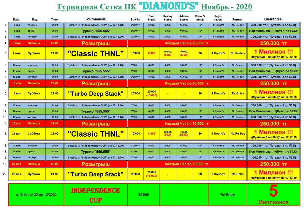 Расписание Diamond's Poker Club. Ноябрь