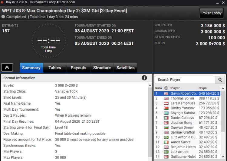 3DTemujin - 5 место WPT Online Championships ($123К)