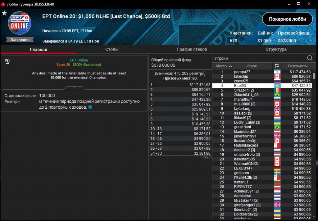 Eset93 - финалка EPT Online ($47К)