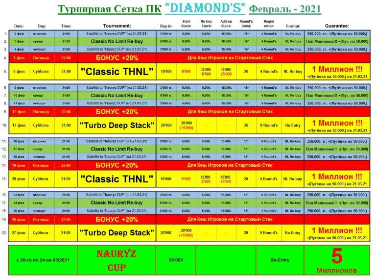 Турниры Расписание Diamond's Poker Club