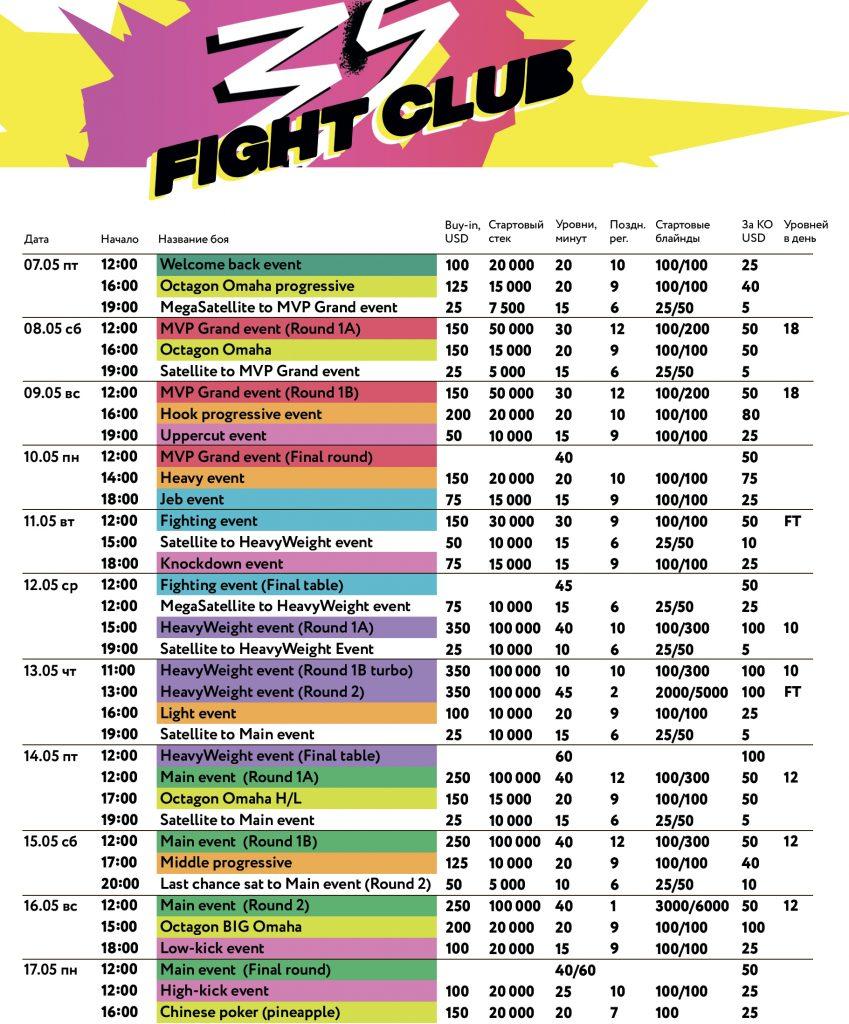 Belarus Poker Tour расписание